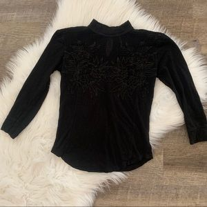 Free people black lace high neck top